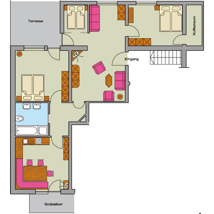 ferienwohnung typ e ca ca 90 m f r 2 7 personen ferienwohnungen peter paul in riezlern im. Black Bedroom Furniture Sets. Home Design Ideas